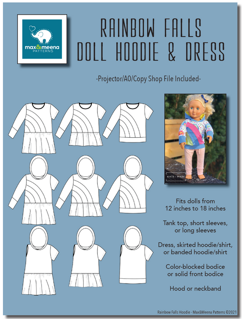 Rainbow Falls Hoodie & Dress for DOLLS -PDF SEWING PATTERN -Projector/A0 Friendly-