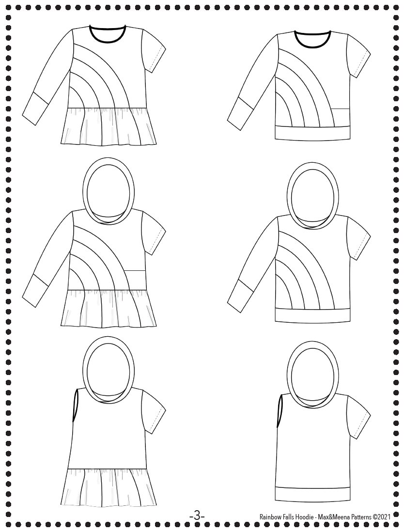 ADULT Rainbow Falls Hoodie PDF Pattern **Projector/A0/Copy Shop Friendly**