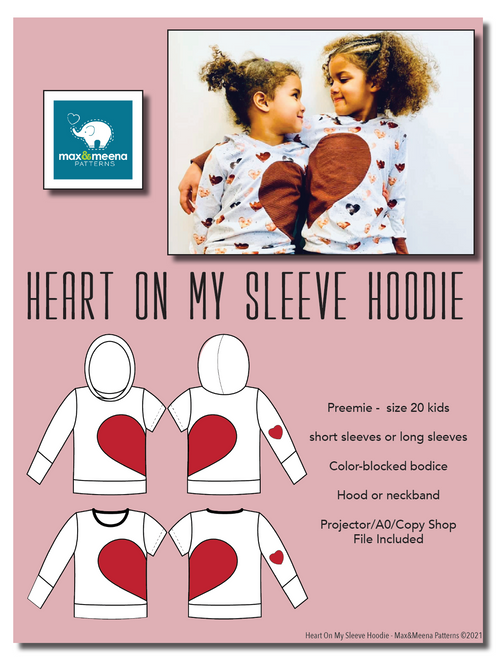 Heart On My Sleeve Hoodie PDF SEWING PATTERN *Projector/A0/Copy Shop Friendly**