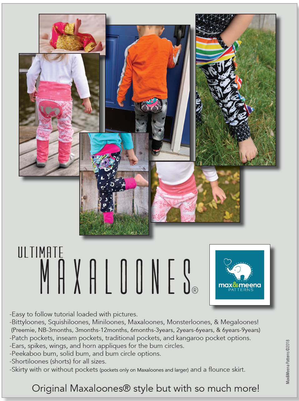Maxaloones (Ultimate Maxaloones) Sewing PDF Pattern -PROJECTOR/A0 Compatible-