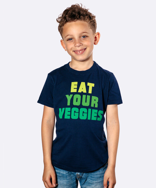 Kids Super-Soft Tee: Eat Your Veggies in Navy