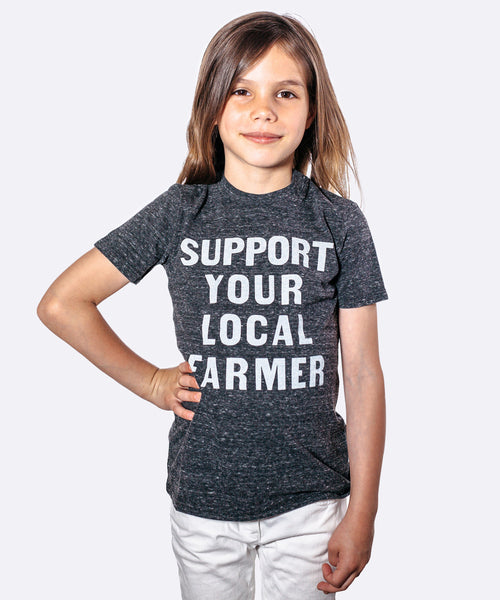 Kids Super-Soft Tee: Support Your Local Farmer in Dark Grey