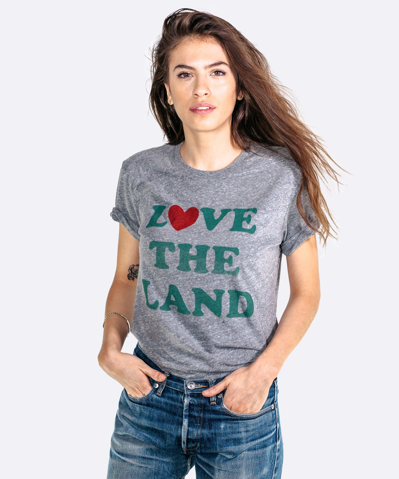 Women's Love the Land Boyfriend T-Shirt in Grey camp locally grown etsy amazon
