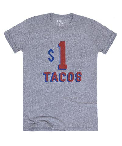 $1 Taco Stand Tee In Grey