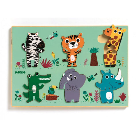 Djeco Coucou-cow and Coucou-croco - Wooden Puzzle
