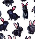 Wrapping paper-black bunny
