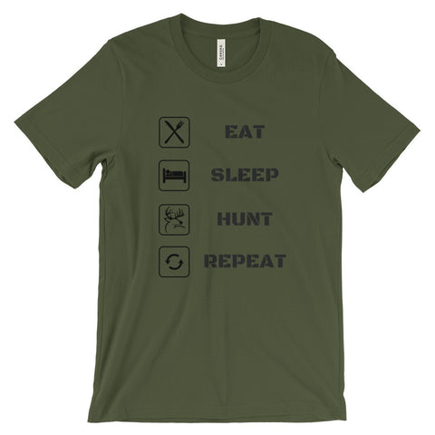 Eat Sleep Hunt Repeat Unisex short sleeve t-shirt