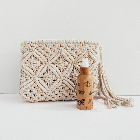 Butterfly Bottle with Macramé Oil Bag