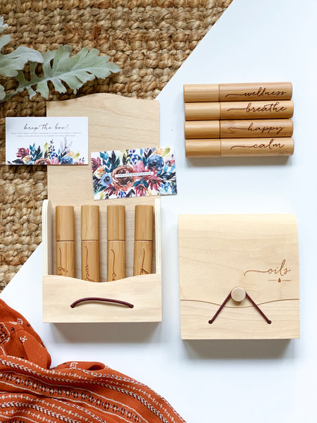 Wooden Engraved Roller set of Four with Eco-friendly packaging