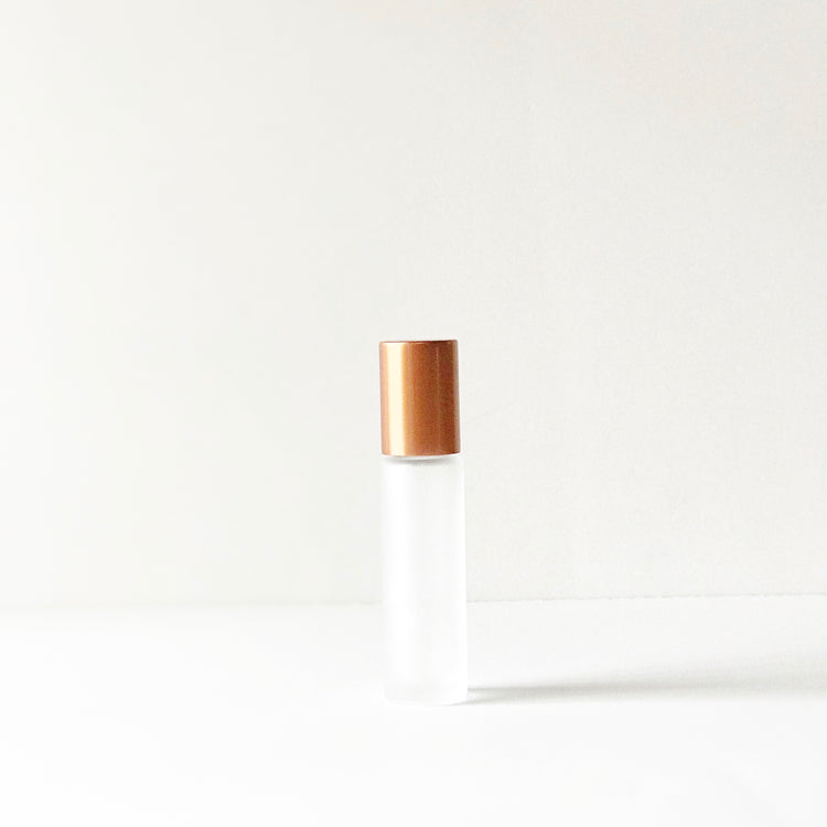 Copper cap frosted 10ml roller bottle with metal ball