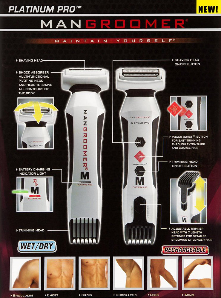 MANGROOMER PLATINUM PRO Body Groomer and Trimmer Specifications