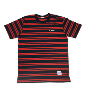 Script Logo T-Shirt - Navy and Red Striped - Do Good