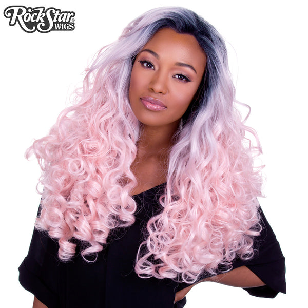 Lace Front Curly Dark Roots Powder Pink 00564