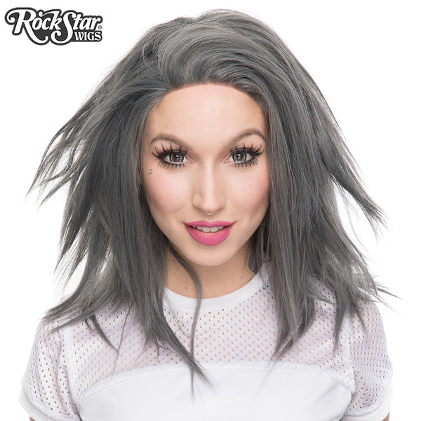 "Lace Front 18"" Layered Yaki - Dark Grey Pewter -00786"