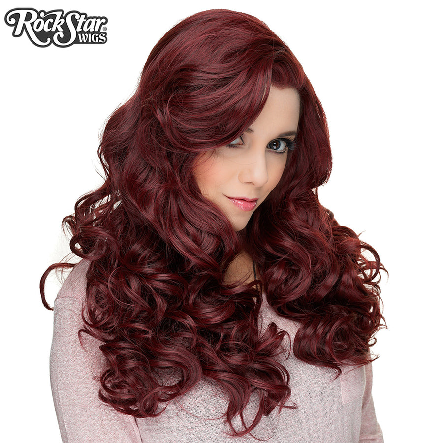 Lace Front Peek-A-Boo - Black Burgendy Rose - 00814