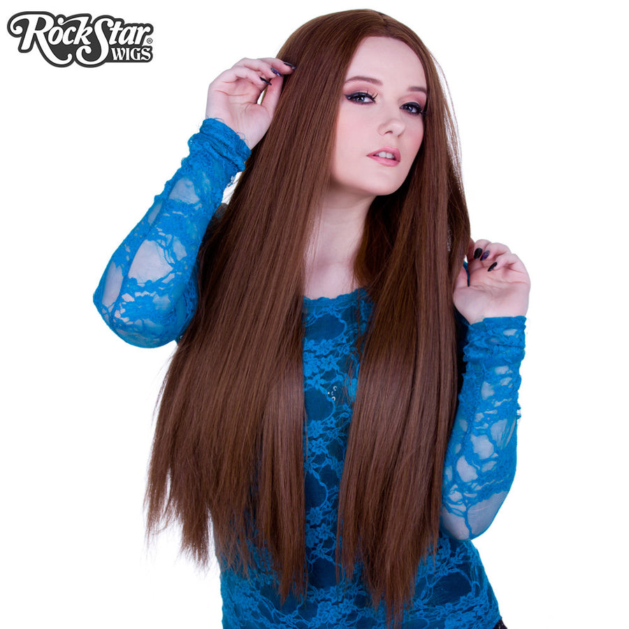 "Lace Front Yaki Straight 32"" - Chestnut Brown Mix- 00592"