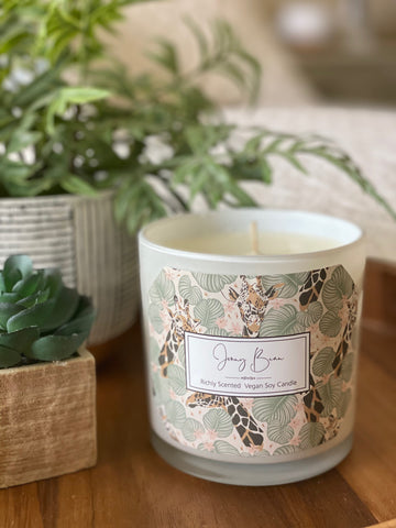 Green Bamboo and Wild Violet Giraffe Soy Candle