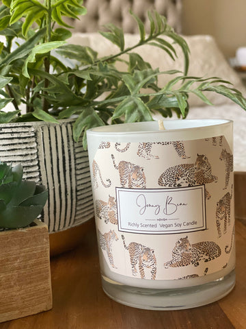 Blue Jasmine and Royal Fern Leopard Soy Candle