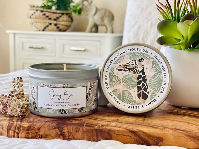 Green Bamboo and Wild Violet Giraffe Soy Candle - Jenny Bean