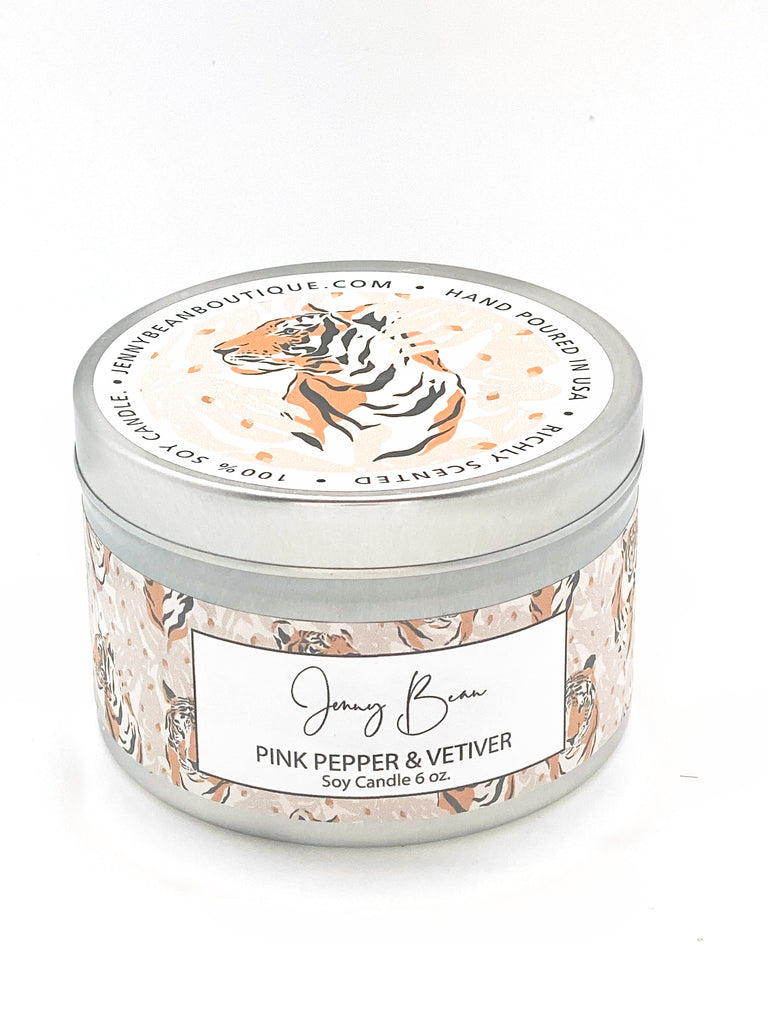 Pink Pepper & Vetiver- Tiger Soy Candle - Jenny Bean