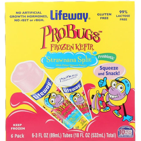 Lifeway ProBugs Frozen Kefir Strawnana Split, 18 Oz (Pack of 12)