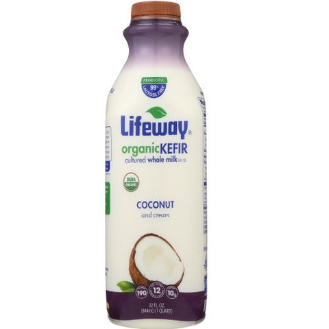 Lifeway Organic Kefir Whole Milk Coconut and Cream, 32 OZ (Pack of 6)
