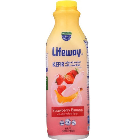 Lifeway Low Fat Strawberry Banana, 32 Oz (Pack of 6)
