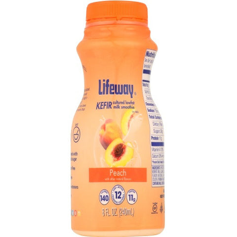 Lifeway Low Fat Peach - Single, 8 Oz (Pack of 12)
