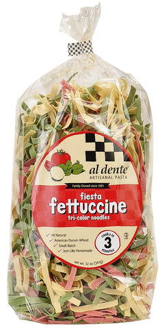 Al Dente Fiesta Tri-Color Noodles Fettuccine, 12 Oz (Pack of 6)