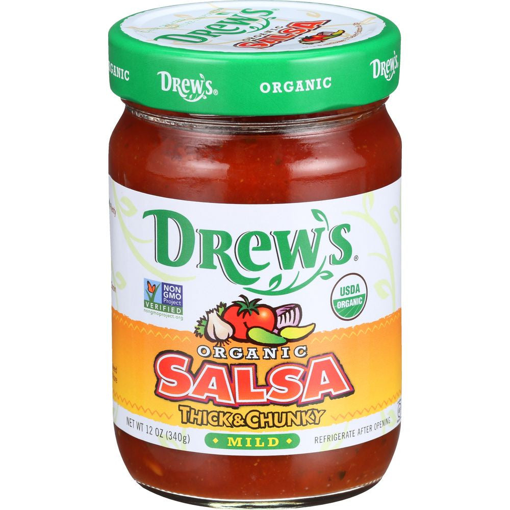 Drew's Salsa Organic Mild, 12 OZ (Pack of 6)