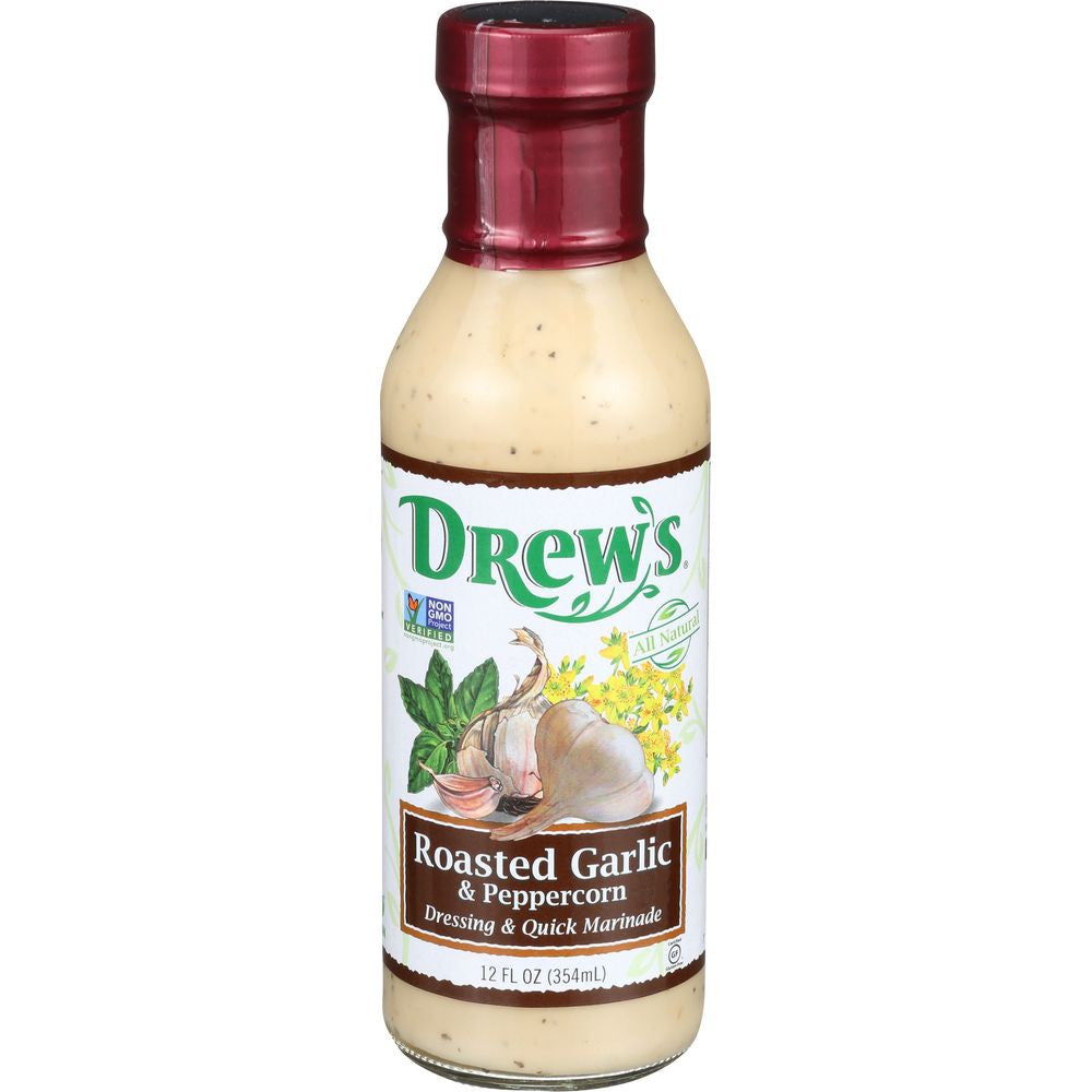 Drew's Dressing Roasted Garlic Peppercorn Low Carb, 12 OZ (Pack of 6)