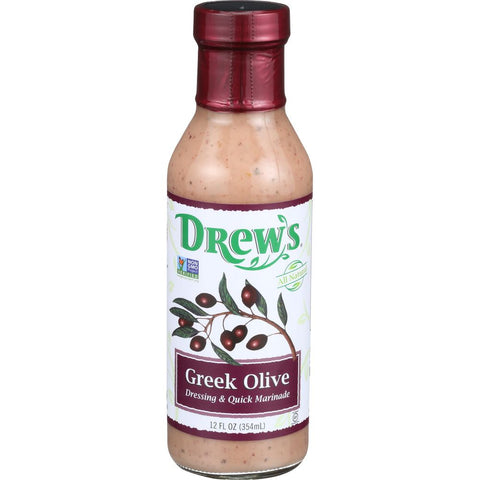 Drew's Greek Olive Dressing & Quick Marinade, 12 OZ (Pack of 6)