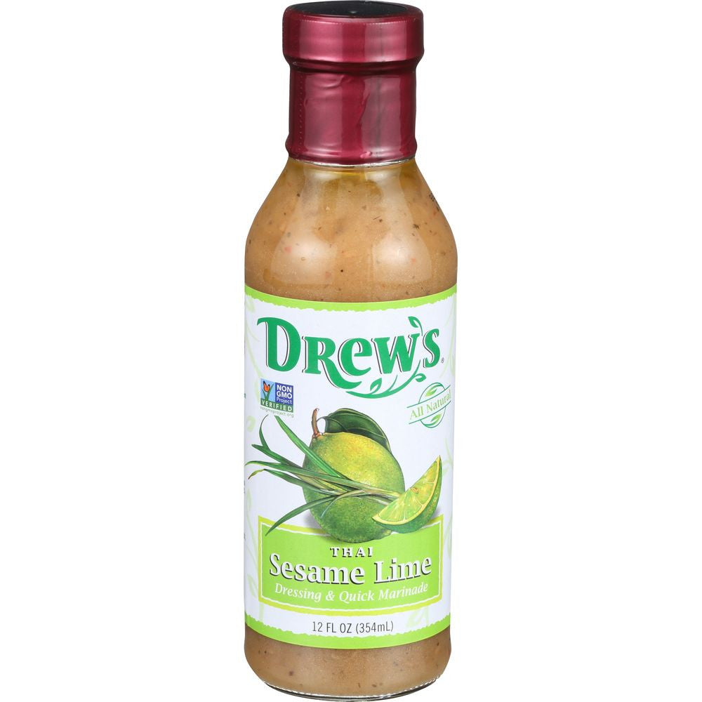 Drew's Dressing Thai Sesame Lime Low Carb, 12 OZ (Pack of 6)