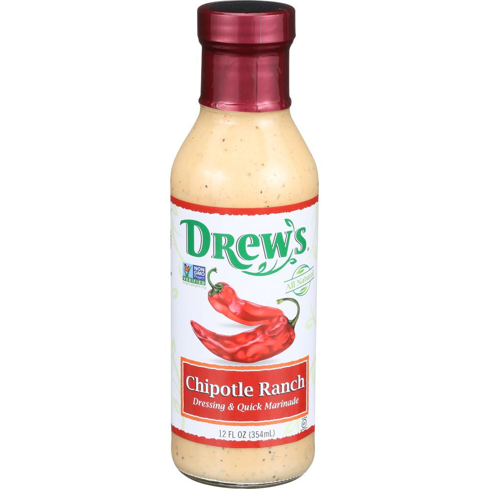 Drew's Chipotle Ranch Dressing & Quick Marinade, 12 Oz (Pack of 6)