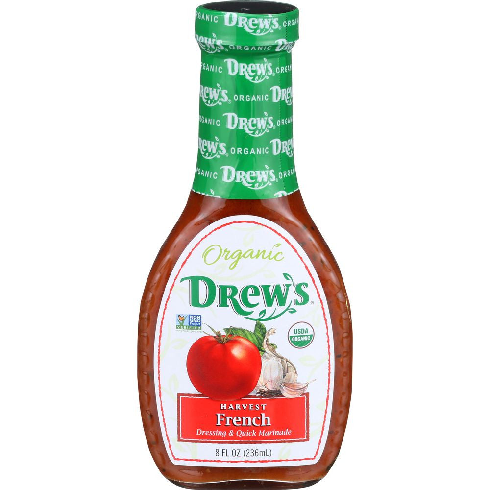 Drew's Organic Harvest French Dressing & Marinade, 8 OZ (Pack of 6)