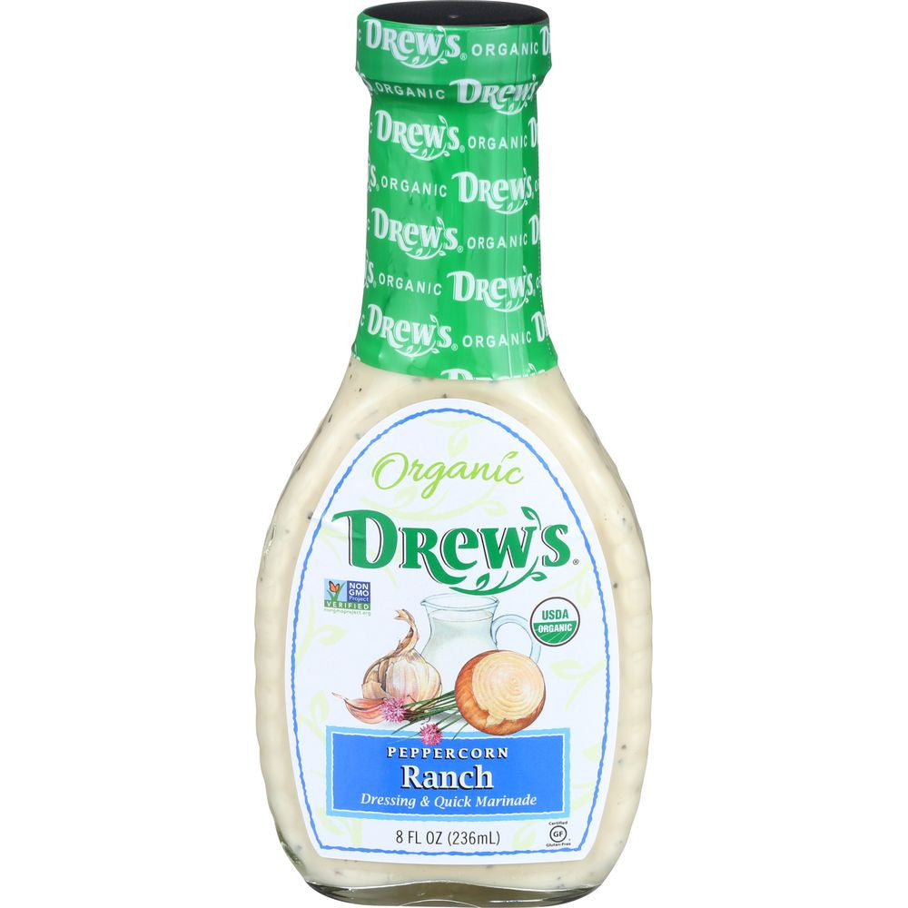 Drew's Organic Peppercorn Ranch Dressing & Marinade, 8 OZ (Pack of 6)