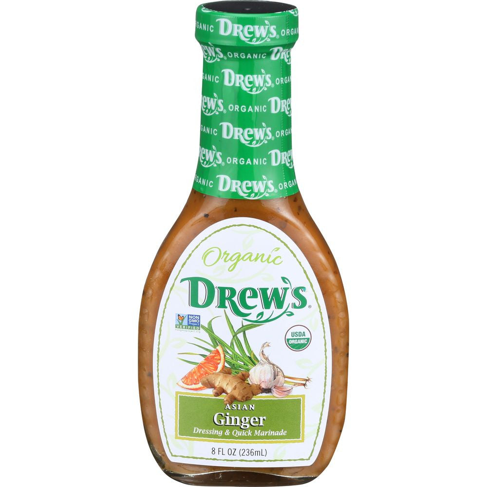 Drew's Organic Asian Ginger Dressing & Marinade, 8 OZ (Pack of 6)
