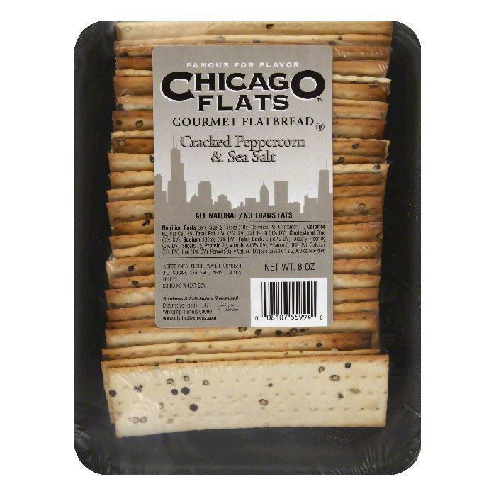 Chicago Flats Cracked Peppercorn & Sea Salt Flatbread, 8 oz (Pack of 10)
