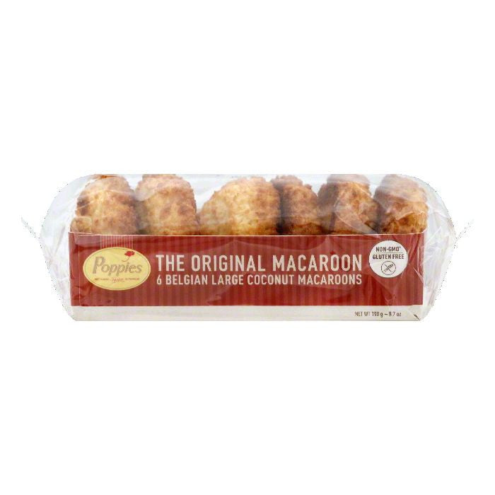 Poppies Coconut Large Belgian Macaroons, 6 ea (Pack of 12)