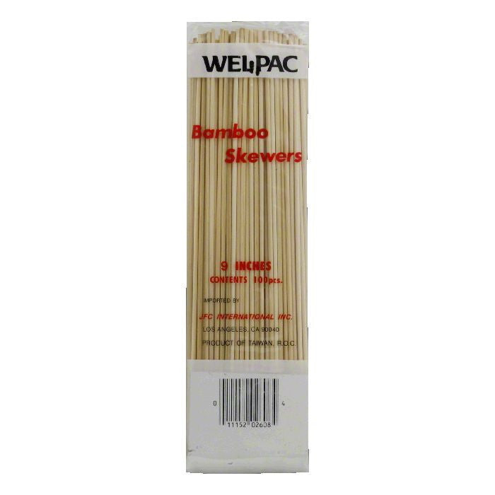 "Wel-Pac 9"" Bamboo Skewers, 100 count, (Pack of 24)"
