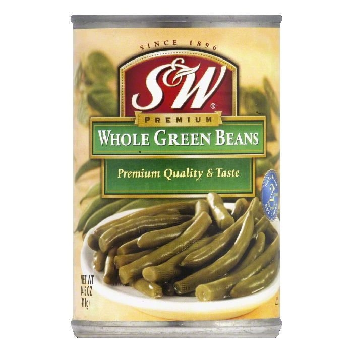 S&W Small Whole Green Beans, 14.5 OZ (Pack of 6)