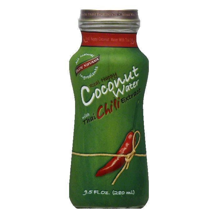 Taste Nirvana with Thai Chili Extract Real Happy Coconut Water, 9.5 FO (Pack of 12)