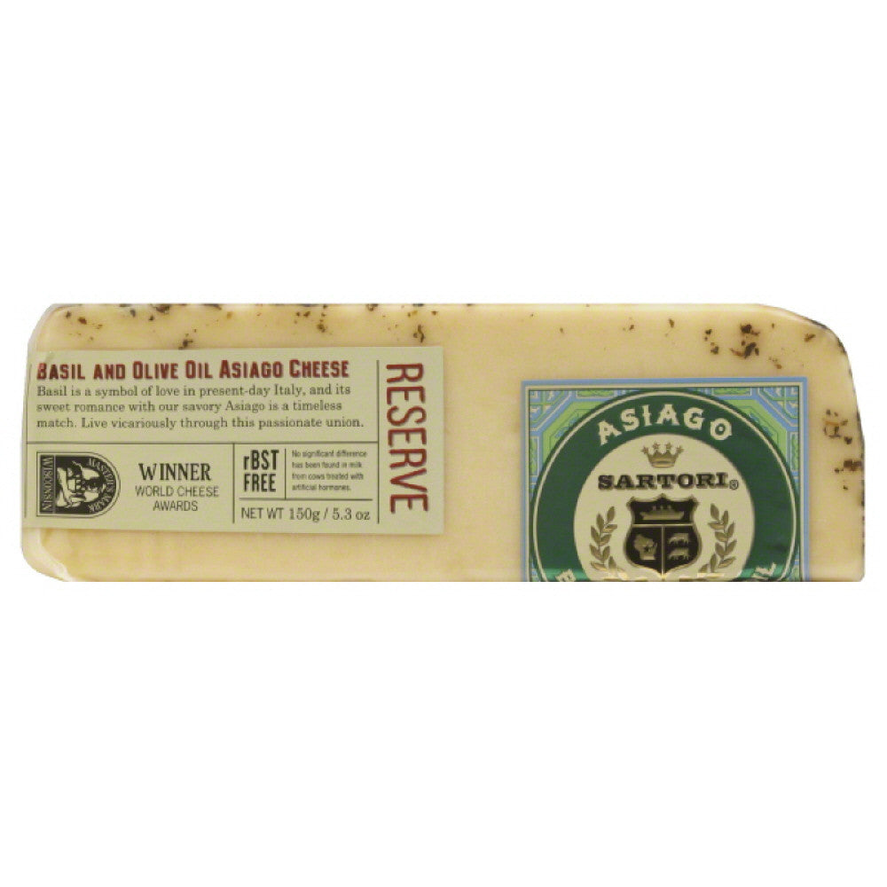 Sartori Basil and Olive Oil Asiago Cheese, 5.3 Oz (Pack of 12)