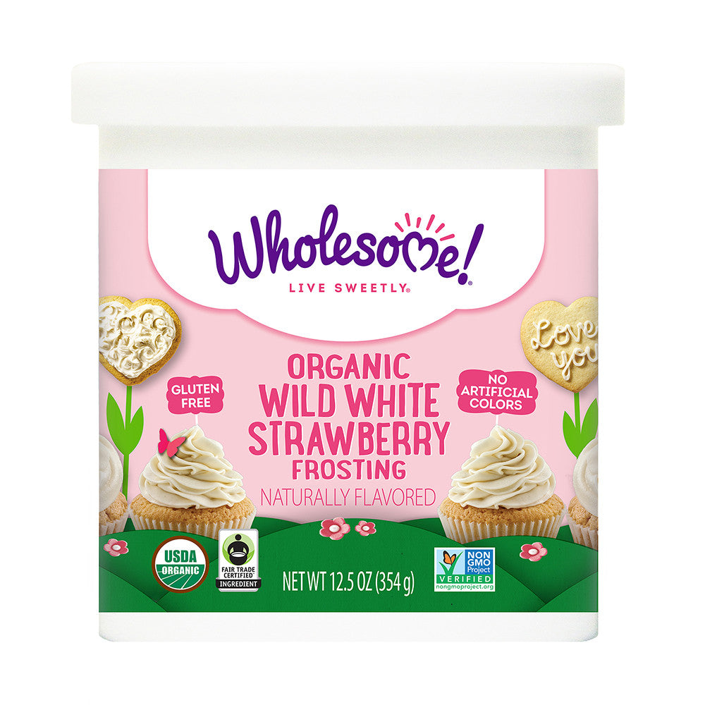 Wholesome Sweeteners Organic Wild White Strawberry Frosting, 12.5 OZ (Pack of 6)