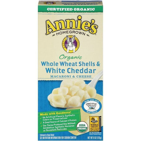 Annie's Homegrown Organic Whole Wheat Shells & White Cheddar Macaroni & Cheese 6 Oz  (Pack of 12)