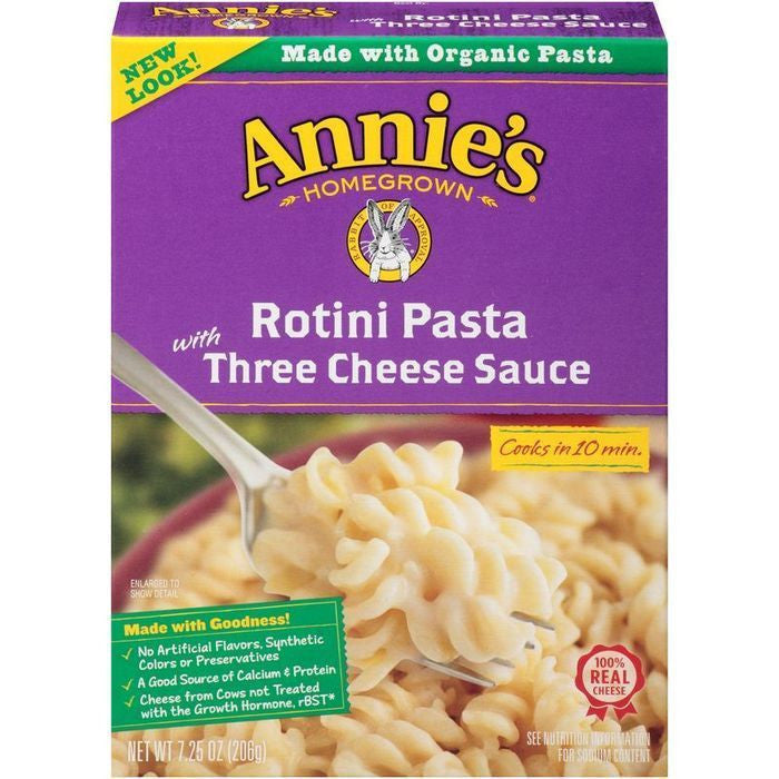 Annie's Homegrown Rotini Pasta with Three Cheese Sauce 7.25 Oz  (Pack of 6)