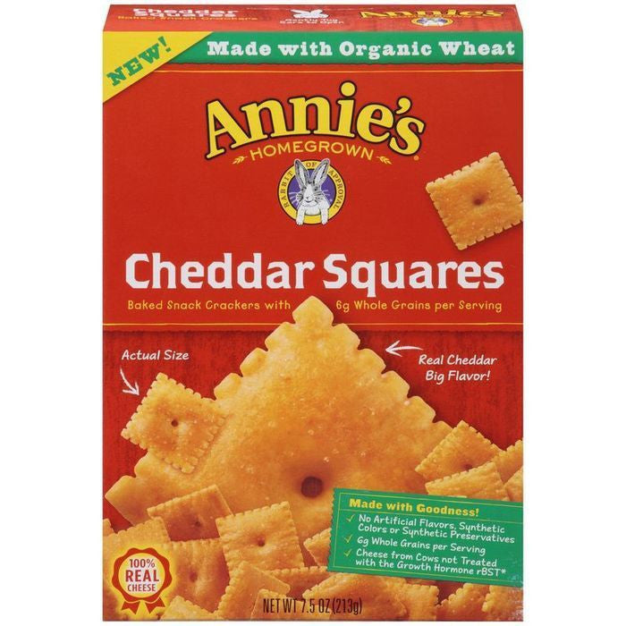 Annie's Homegrown Cheddar Squares Baked Snack Crackers 7.5 Oz  (Pack of 12)
