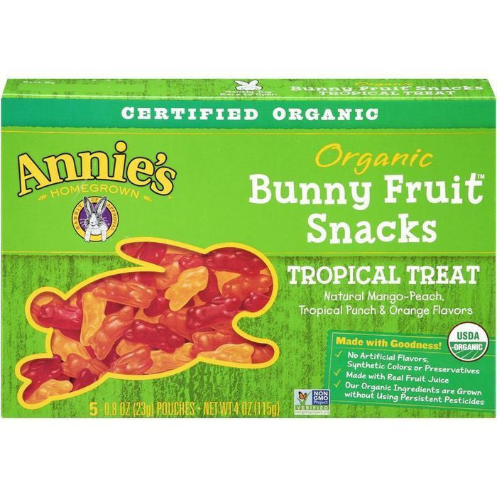 Annie's Homegrown Tropical Treat Organic Bunny Fruit Snacks 5-0.8 Oz Pouches (Pack of 12)