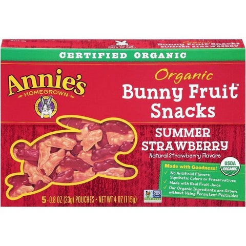 Annie's Homegrown Summer Strawberry Organic Bunny Fruit Snacks 5-0.8 Oz Pouches (Pack of 12)