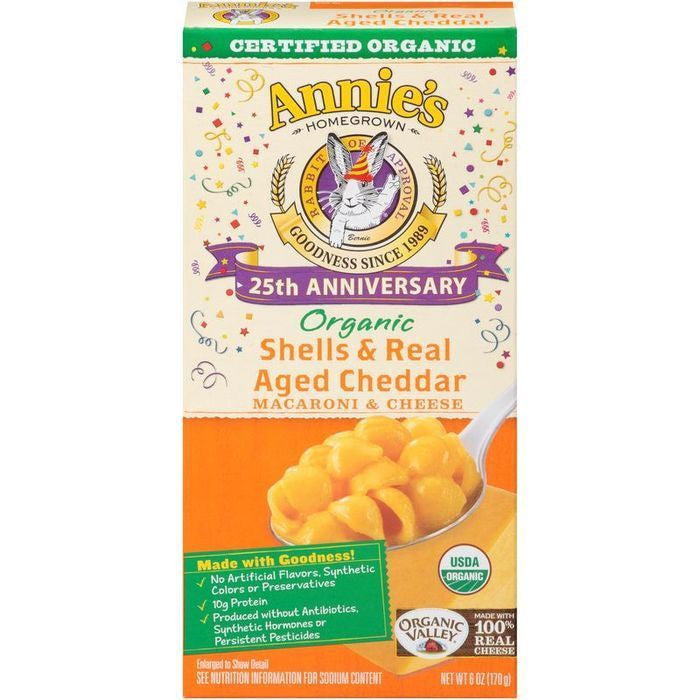 Annie's Homegrown 25th Anniversary Edition Organic Shells & Real Aged Cheddar Macaroni & Cheese 6 Oz  (Pack of 12)